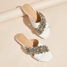 Gemstone Decor Croc Embossed Slide Sandals