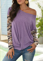 Camouflage Splicing Twist Long Sleeve Blouse - Purple