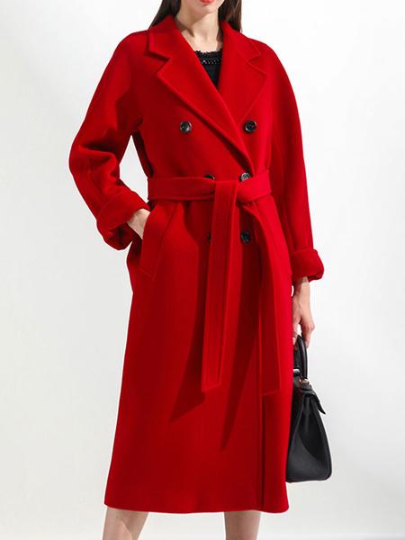 Milanoo Women Winter Coat Red Turndown Collar Long Sleeve Buttons Wrap Coats