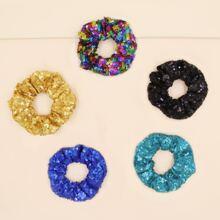 5pcs Glitter Sequin Decor Scrunchie