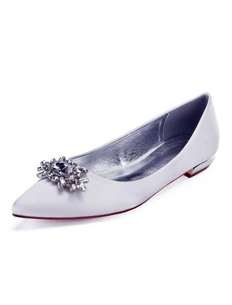 Milanoo Satin Mother Shoes Wedding Flat Dark Navy Jewel Pointed Toe Bridal Shoes