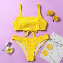 Ditsy Floral Square Neck Bikini Swimsuit