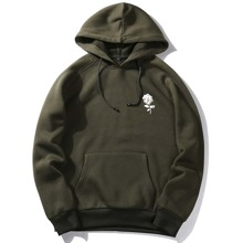 Guys Rose Graphic Pocket Hoodie