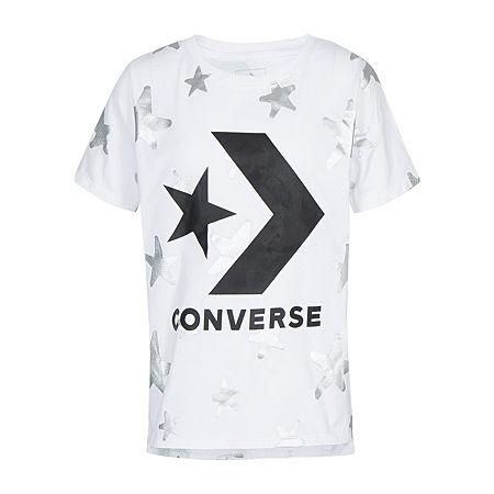 Converse Big Girls Crew Neck Short Sleeve Graphic T-Shirt, Large , White