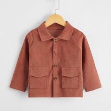 Cord Mantel mit Taschen Klappen und Knopfen