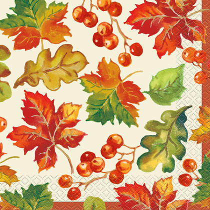 Berries & Leaves Fall Luncheon Napkins, 6.5
