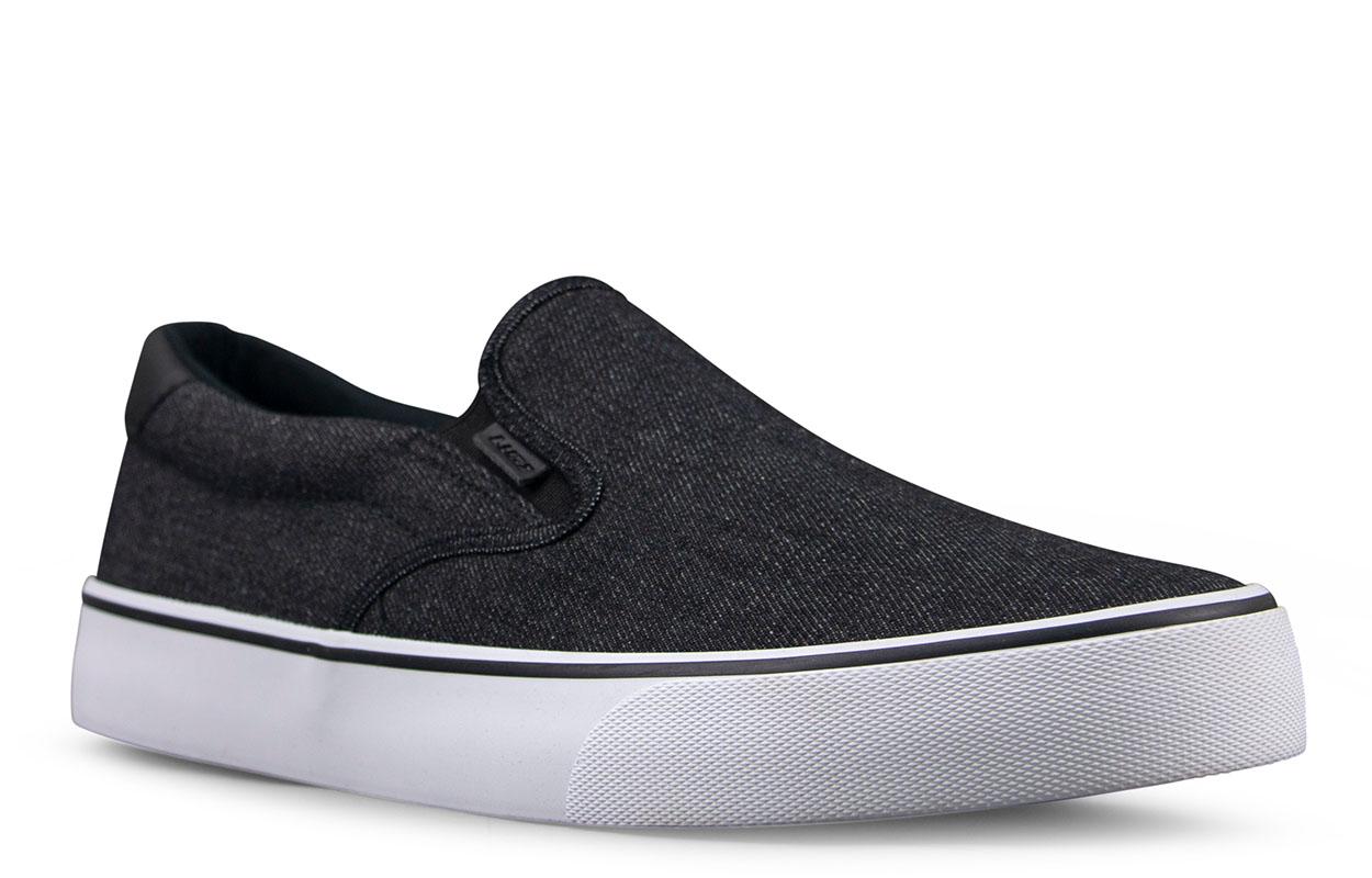 Men's Clipper Slip-On Sneaker (Choose Your Color: Denim Black/White, Choose Your Size: 12.0)