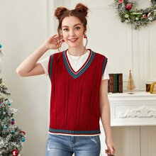 Contrast Binding Cable Knit Sweater Vest