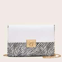 Turn-Lock Zebra Striped Crossbody Bag