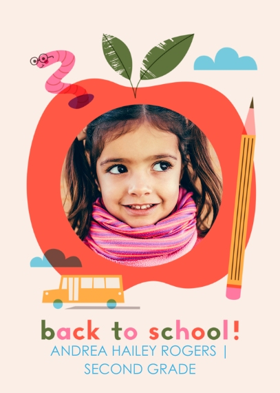 Back to School 5x7 Cards, Premium Cardstock 120lb with Rounded Corners, Card & Stationery -School Day Apple