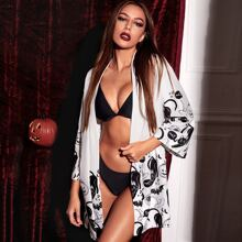 Halloween Drop Shoulder Night Robe