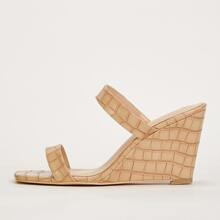 Croc Embossed Double Band Wedge Mules