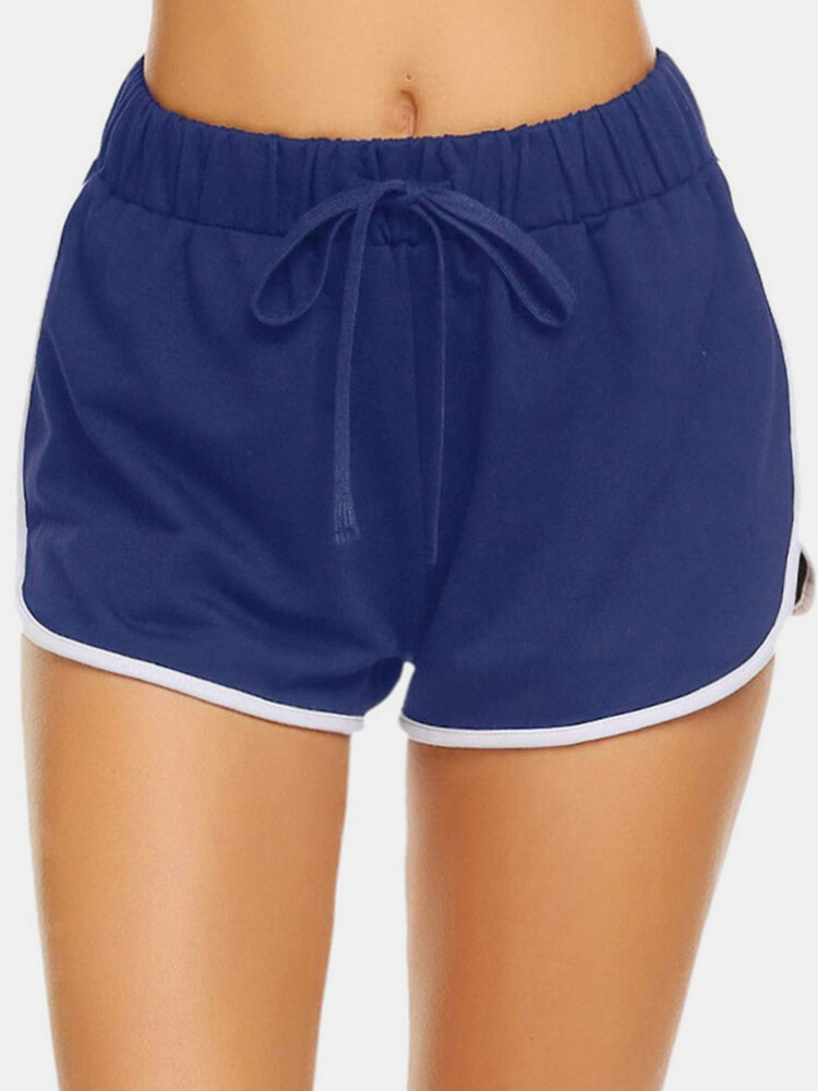 Solid Color Elastic Waist Drawstring Shorts
