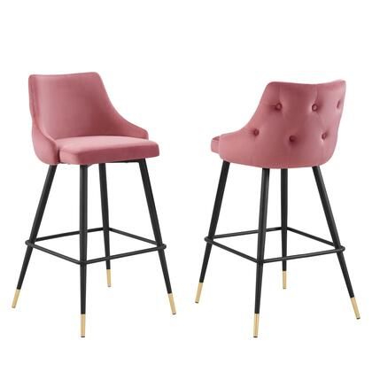 Adorn Collection EEI-4595-DUS Set of 2 Bar Stools with Black Tapered Legs  Footrest Support  Dense Foam Padding and Stain-Resistant Velvet Polyester