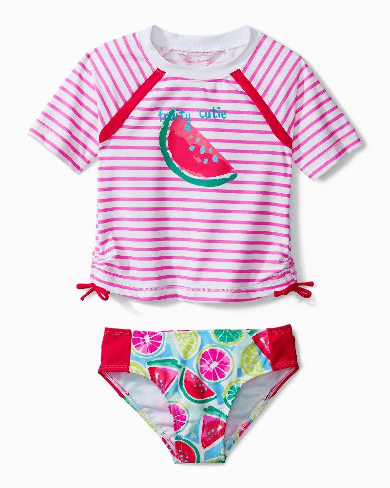 Little Girls' Mixed Fruit Rash Guard Swim Set