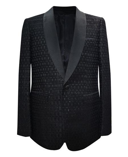 Men's Black 1 Button Matching Fashion Bow Tie Shawl Lapel