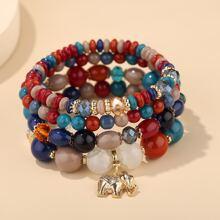 4pcs Elephant Charm Beaded Bracelet