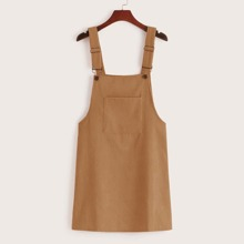Pocket Front Corduroy Overall Dress