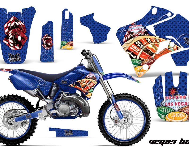 AMR Racing Graphics MX-NP-YAM-YZ125-YZ250-96-01-VB U Kit Decal Sticker Wrap + # Plates For Yamaha YZ125 YZ250 1996-2001áVEGAS BLUE