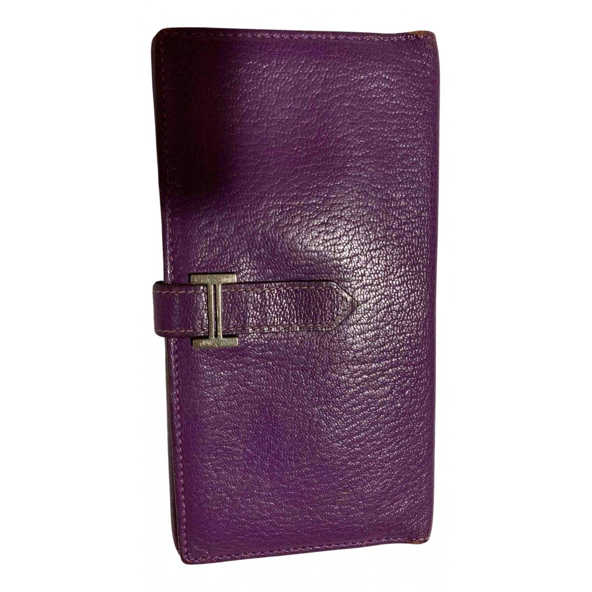 Hermes Bearn Portemonnaie in  Lila Leder