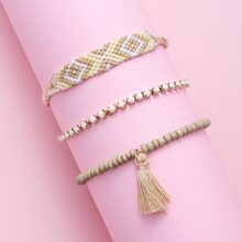 3pcs Girls Tassel Charm Bracelet