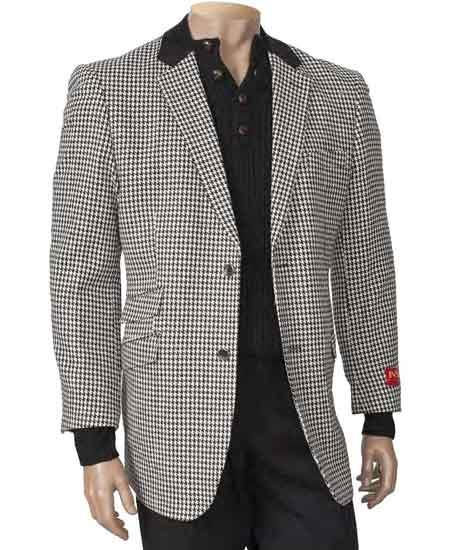 Black/White Single Breasted Peal Lapel Houndstooth Fashion Blazer