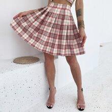 Eilly Bazar High Waist Tartan Pleated Skirt