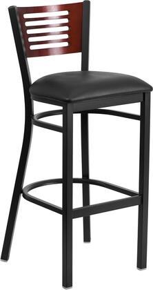 XU-DG-6H1B-MAH-BAR-BLKV-GG HERCULES Series Black Decorative Slat Back Metal Restaurant Bar stool - Mahogany Wood Back Black Vinyl