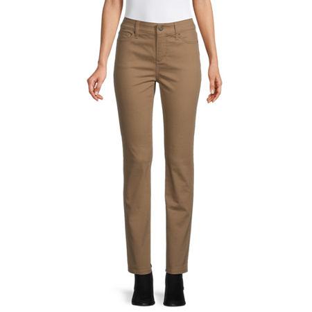 St. John's Bay Womens Mid Rise Straight Leg Jean, 4 Short , Beige