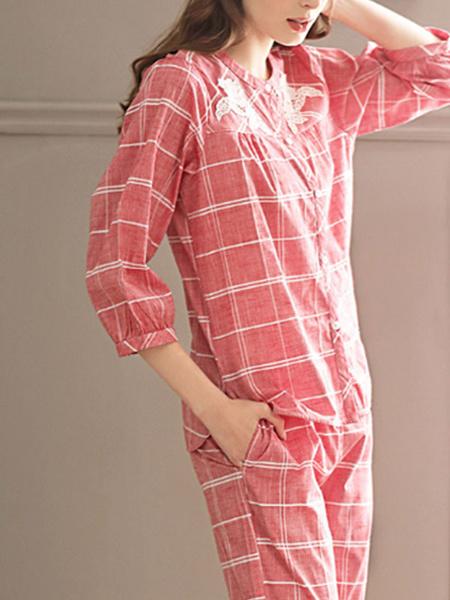 Milanoo Loungewear Two Piece Sets Plaid Outfit Sleepwear For Women