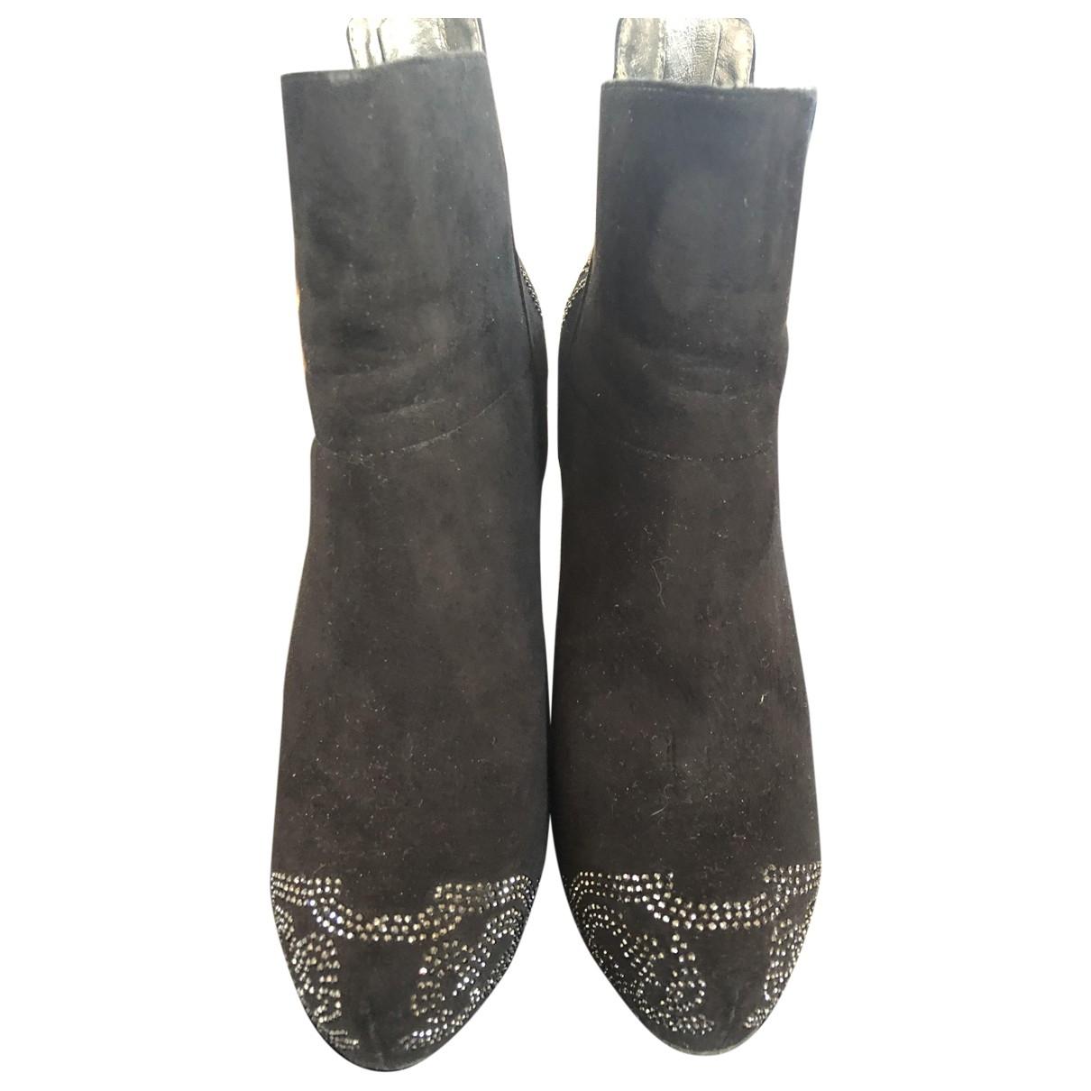 424 - Boots   pour femme en suede - noir