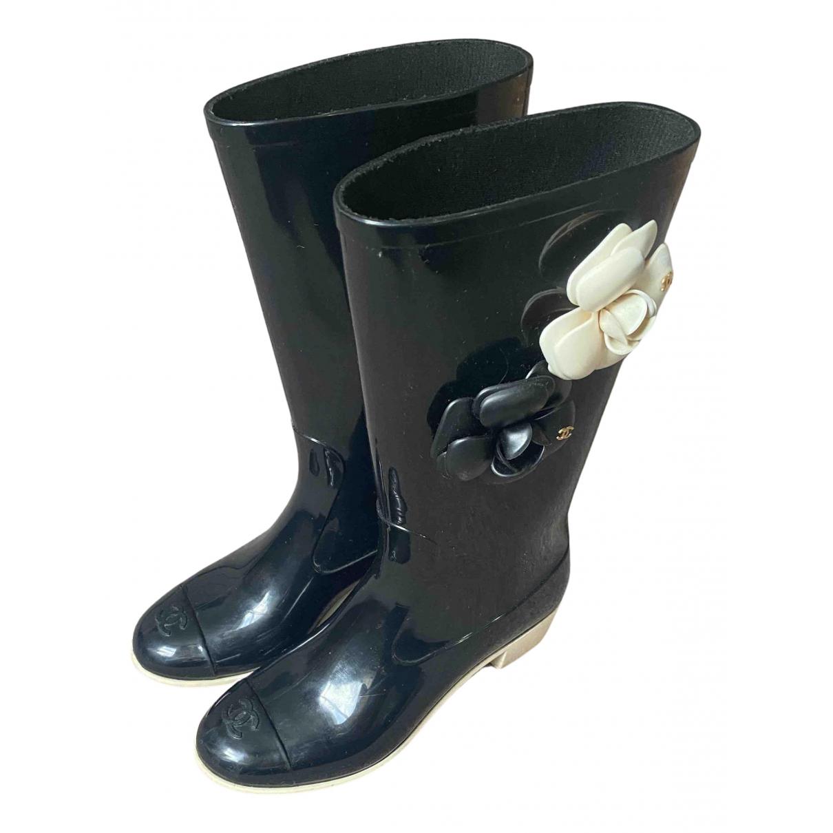 Chanel - Bottes   pour femme en caoutchouc - noir