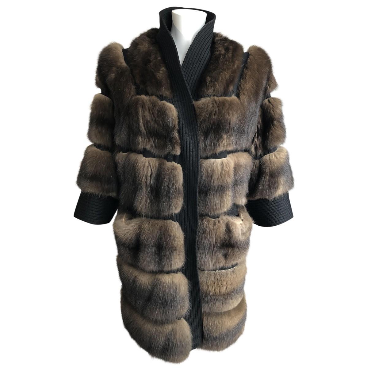 Solleciti \N Brown Fur coat for Women 42 IT