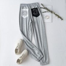 Sun & Moon Graphic Pocket Sweatpants