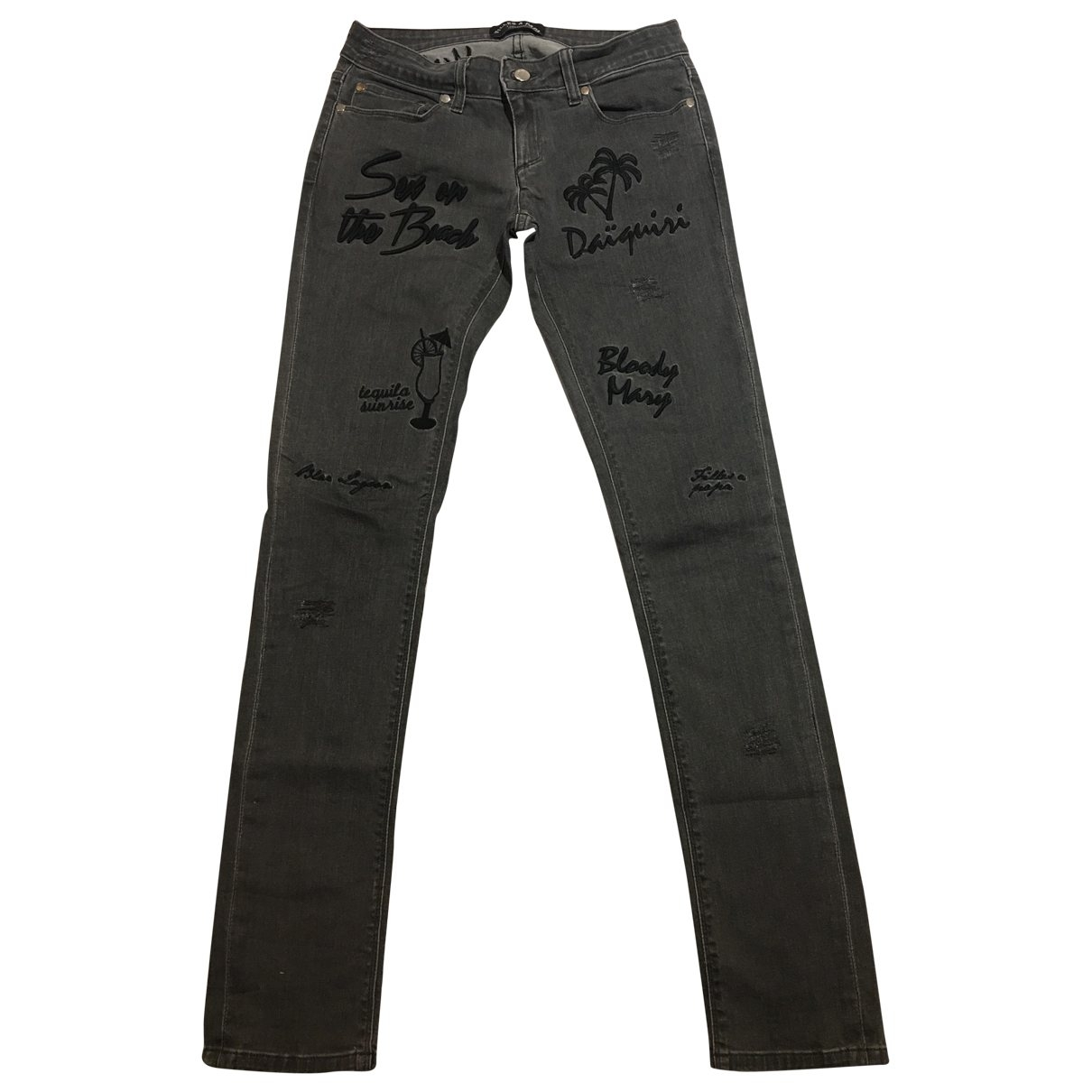 Filles À Papa \N Anthracite Cotton - elasthane Jeans for Women 27 US
