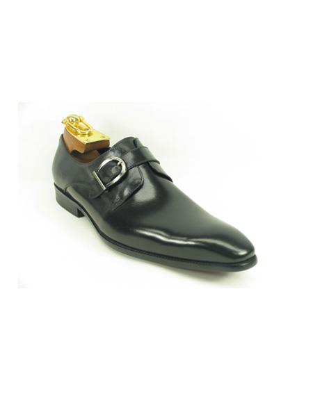 Mens Slip-On Shoes by Carrucci - Side Buckle Black