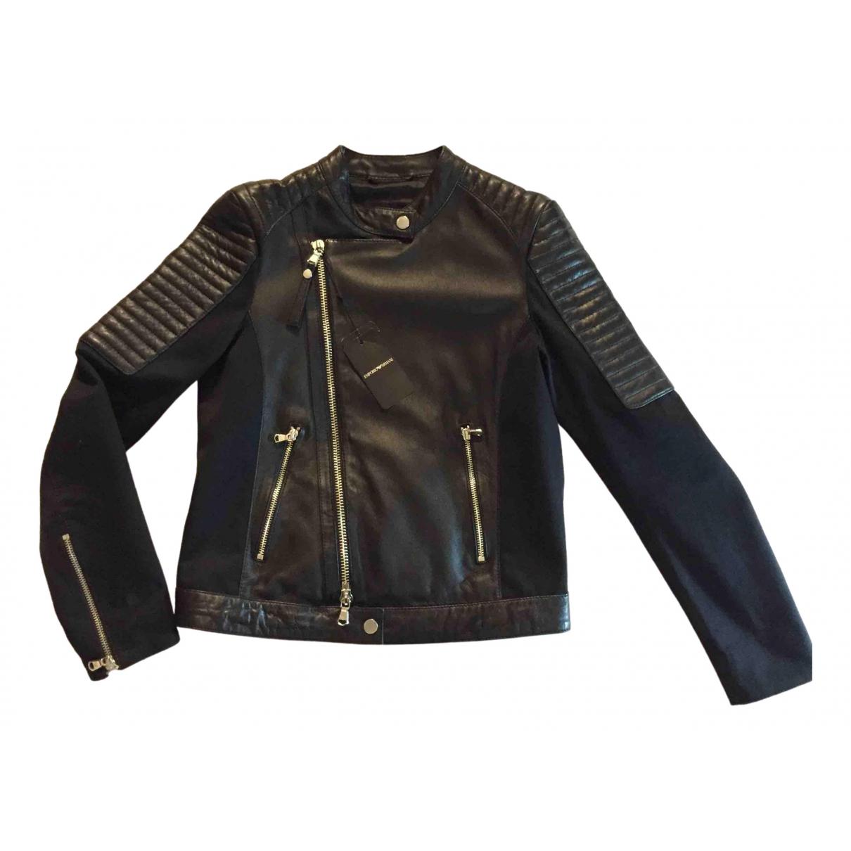 Emporio Armani \N Black Leather jacket for Women S International