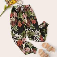 Plus Floral Print Elastic Waist Shirred Pants