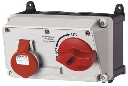MENNEKES Right Angle Switchable IP44 Industrial Interlock Socket 3P+E, Earthing Position 6h, 32A, 400 V, Red