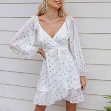 Allover Print Surplice Neck Lantern Sleeve Wrap Belted Chiffon Dress