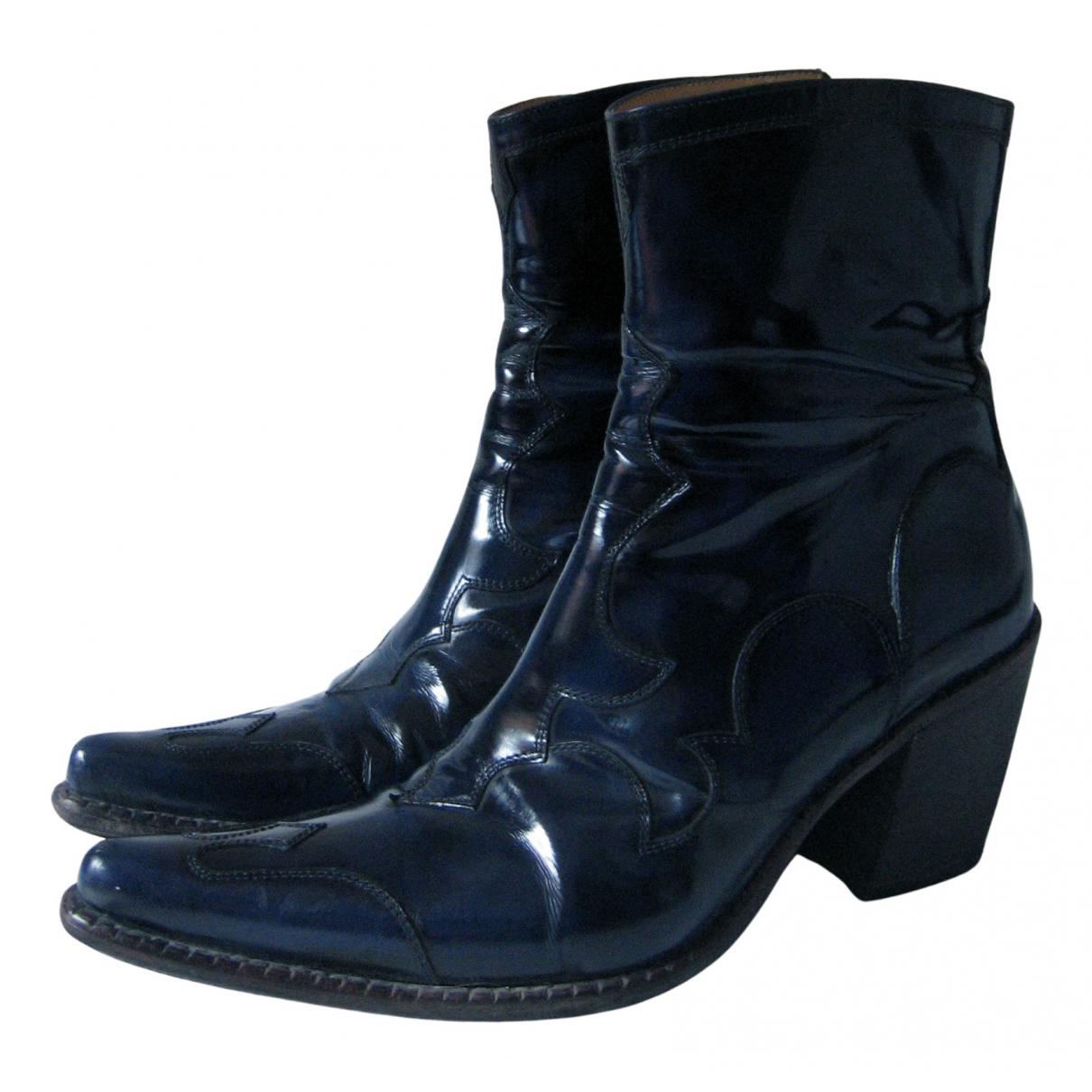 Free Lance - Boots   pour femme en cuir verni - bleu