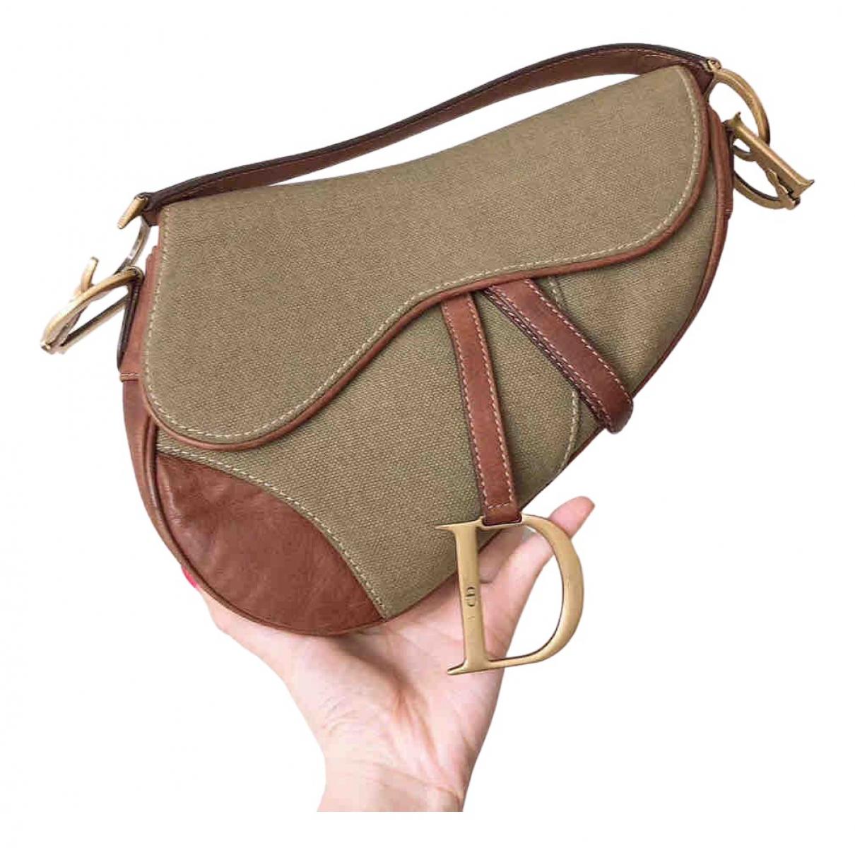 Dior Saddle Handtasche in  Khaki Leinen