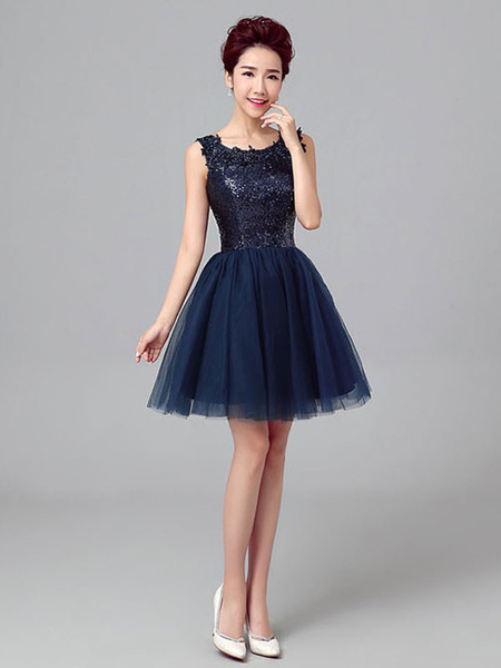 Milanoo Short Prom Dresses Dark Navy Sequin Tulle Cute Graduation Dress Sleeveless Mini Cocktail Dress