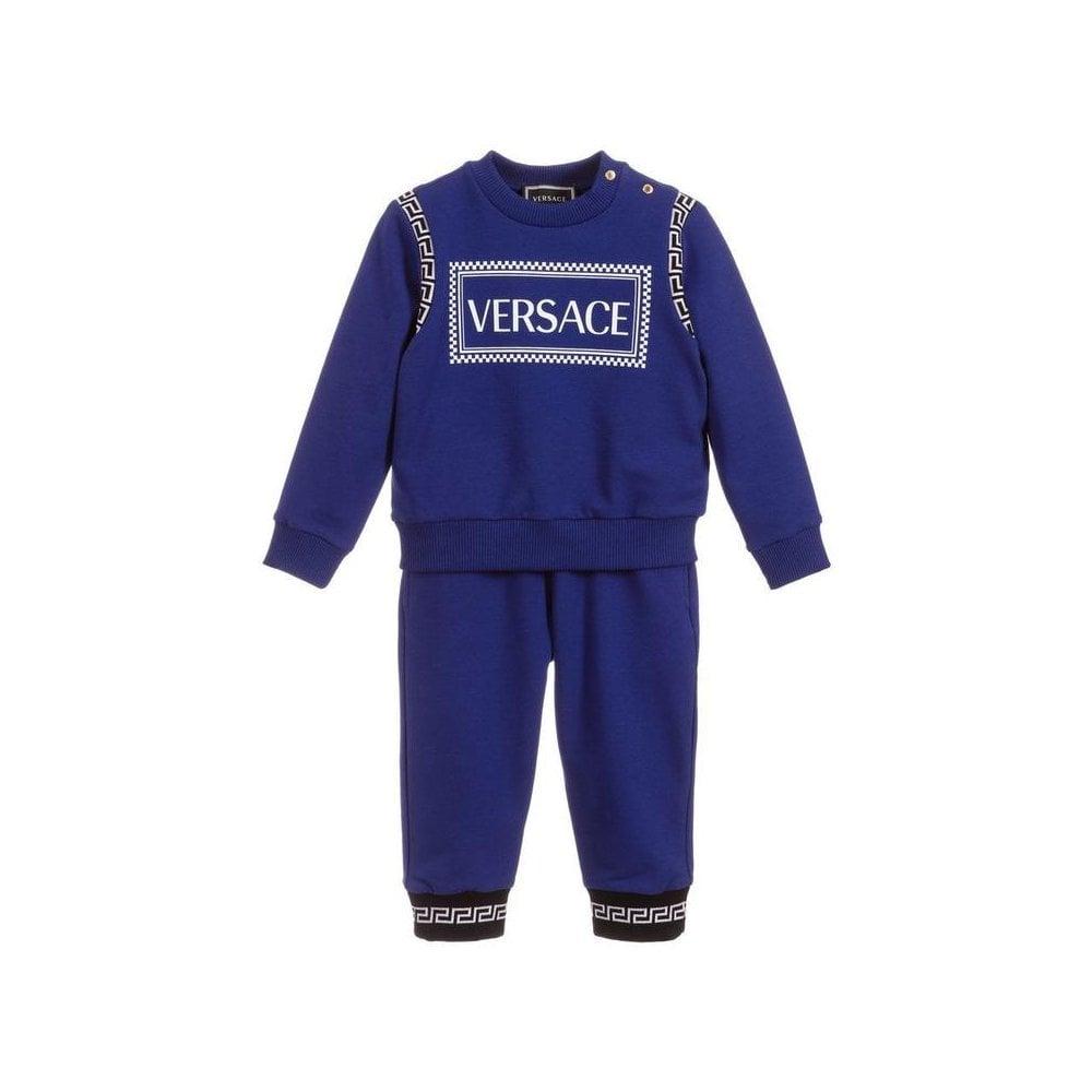 Versace Baby Boy Blue Cotton Tracksuit Colour: BLUE, Size: 3/6
