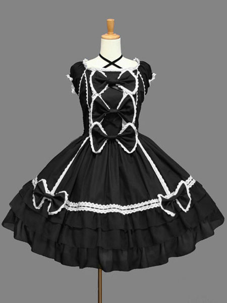 Milanoo Rococo Lolita Dress OP White Short Sleeve Cotton Lolita One Piece Dress