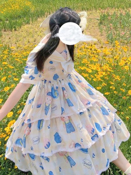 Milanoo Sweet Lolita OP Dress Bear mangas cortas Sailor Lolita Vestidos de una pieza