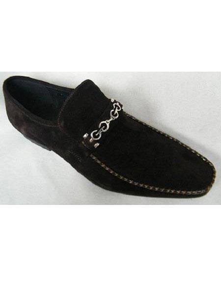 Mens Brown Suede Leather Chain Link Strap Style Slip On Fashion Shoes