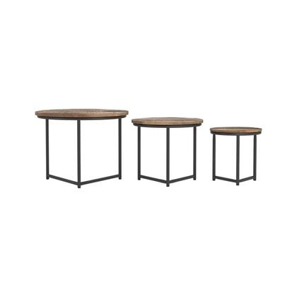 931202 Nesting Tables with Gunmetal Frame and Base  Circular Top and Transitional Style Design in Natural