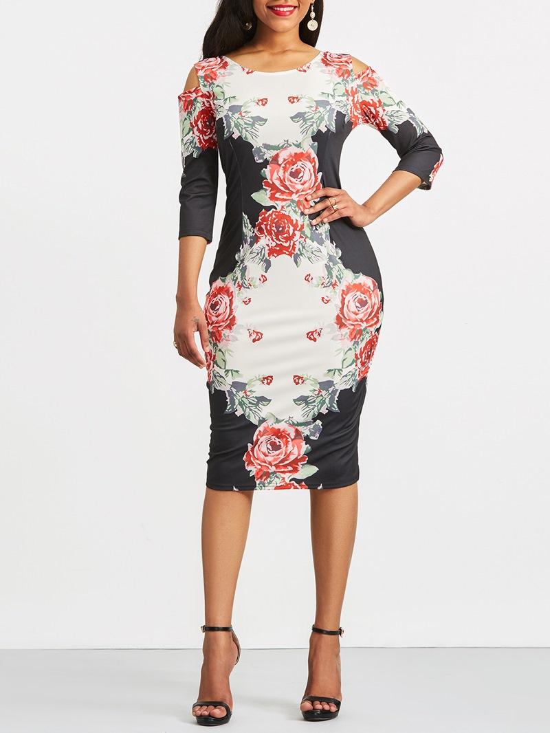 Women's Dress Floral Print Hollow Color Block