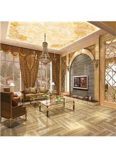 3D Golden Floral Pattern Waterproof Durable and Eco-friendly Self-Adhesive Ceiling Murals